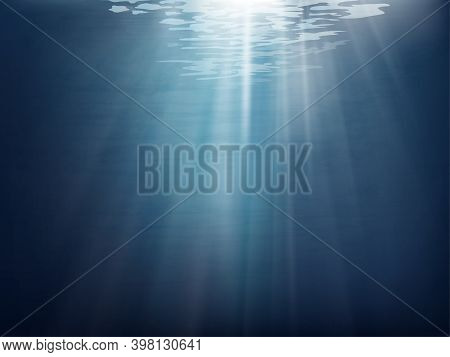 Vector Under Water With Wave In Deep Blue On The Island, Cartoon Ocean With Sun Rays Shining, Abstra