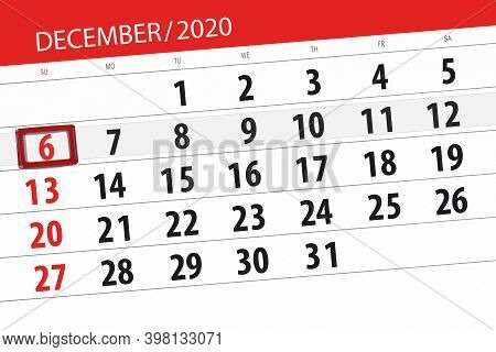 Calendar Planner For The Month December 2020, Deadline Day, 6, Sunday