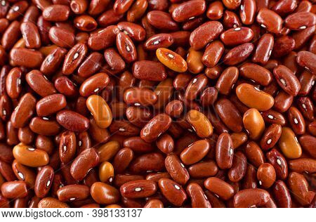 Background Of Many Grains Of Dried Beans. The Texture Of Brown Beans. Food Background. Bean Backgrou