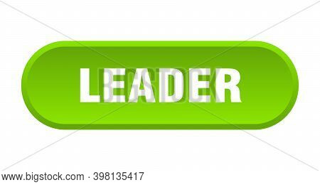 Leader Button. Leader Rounded Green Sign. Leader