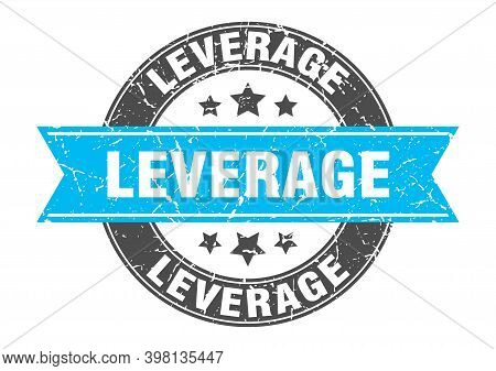 Leverage Round Stamp With Ribbon. Label Sign
