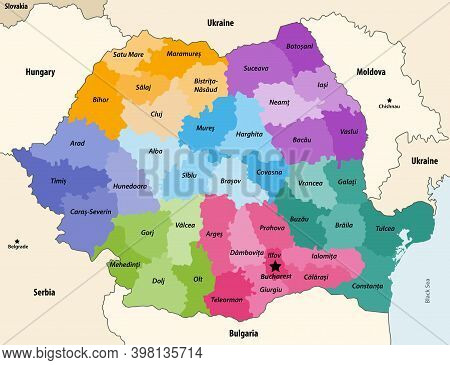 Counties Of Romania Colored By Regions With Neighbouring Countries And Territories Vector Map