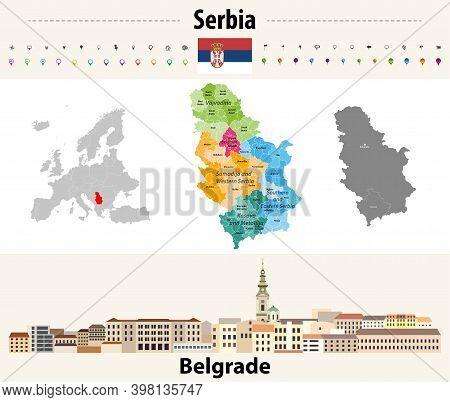 Serbia Administrative Divisions Map. Flag Of Serbia. Belgrade Cityscape. Vector Illustration