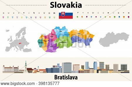 Slovakia Administrative Divisions Map. Flag Of Slovakia. Bratislava Cityscape. Vector Illustration