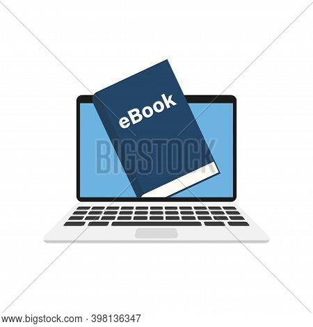 Ebook In Laptop. Online Library. Isolated Vector Illustration