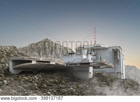 3d Illustration Of A Military Base, With Aircraft Landing Structures, A Research Bunker With Communi