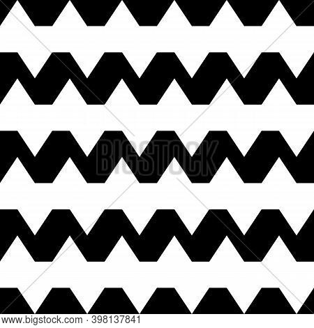 Wavy Motif. Seamless Vector. Zigzag Lines Background. Jagged Stripes Pattern. Geometric Waves Orname