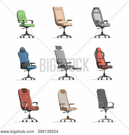 Set Of Different Working Chairs. Grey, Red, Blue, Green, And Brown Office Chairs Vector Flat Illustr
