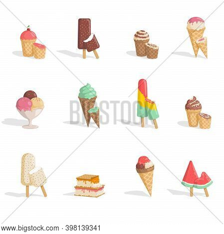 Set Of Tasty And Delicious Ice Creams Vector Flat Illustration Isolated On White Background. Chocola