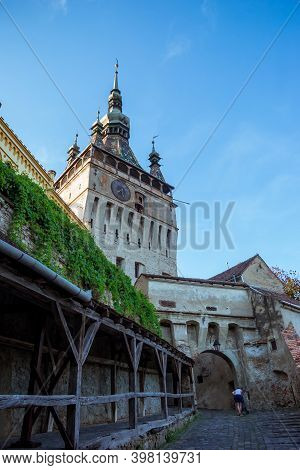 Age Citadel, Located In The Historic Region Of Transylvania, Built By Transylvanian Saxons. Clock To
