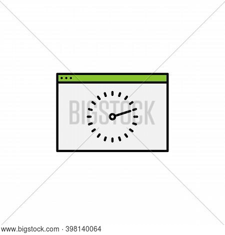 Web Browser, Time, Clock, Wall Icon. Signs And Symbols Can Be Used For Web, Logo, Mobile App, Ui, Ux