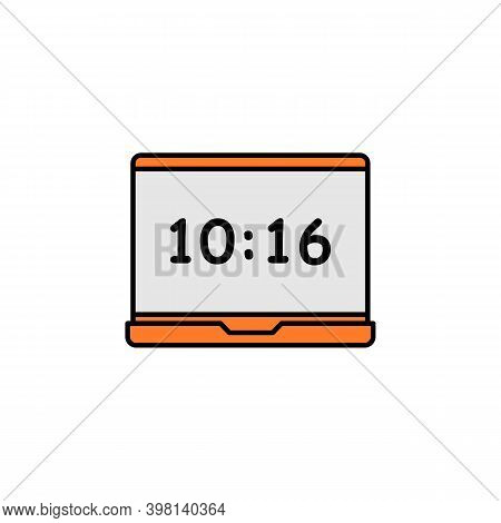 Laptop, O Clock Icon. Signs And Symbols Can Be Used For Web, Logo, Mobile App, Ui, Ux