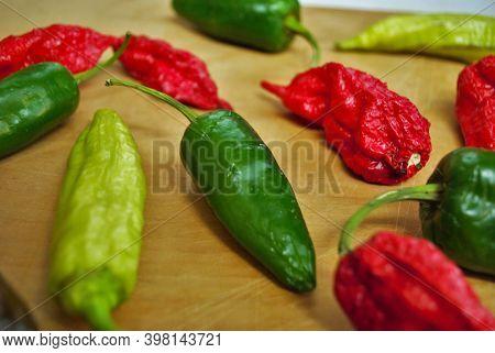 Fresh, Jalapeno, Habanero, Banana Pepper, Pepper, Hot, Banana, Wood, Background, Wood Background, Fo