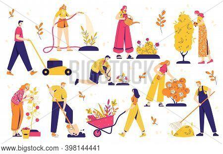 Gardening People Set, Diverse People Men And Women, Doing Hobby Garden Work: Watering, Planting, Cut