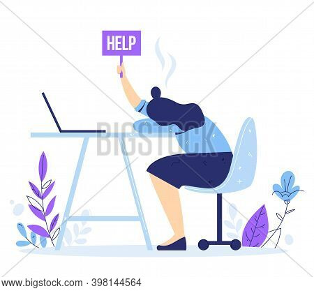 Professional And Emotional Burnout Syndrome. Exhausted Male Manager Sitting At The Office. Tired Bus