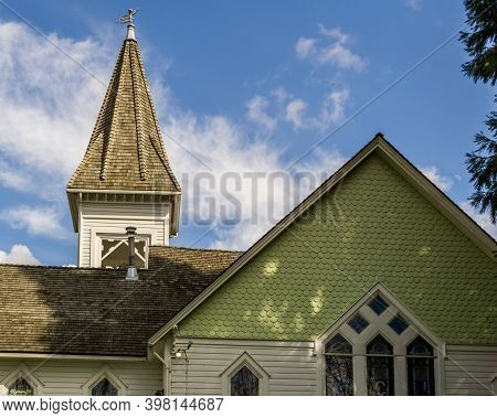 Richmond, Canada - June 1, 2020: Church Historic Richmond Chapel In Minoru Park Summer Time