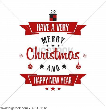 Merry Christmas And Happy New Year. Design Pattern For Vintage Badge, Label, Logo, Emblem, Greeting