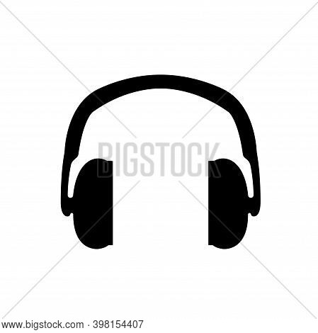Hearing Protection Black Icon, Vector Illustration, Isolate On White Background Label. Eps10
