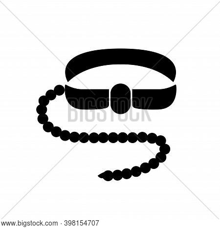 Safety Harness And Lifeline Black Icon, Vector Illustration, Isolate On White Background Label. Eps1