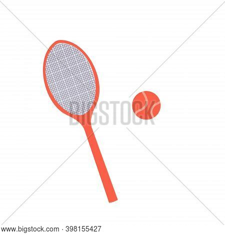Racket And Tennis Ball. Game Equipment. Professional Sport, Classic Racket