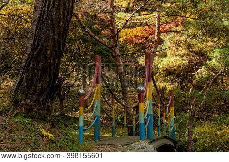 Metal Footbridge Over Mountain Ravine