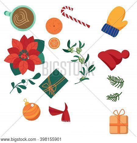Christmas Set With Fir Tree, Mittens, Toys, Oranges, Poinsettia, Candy, Mistletoe, Scarf, Coffee, Gi