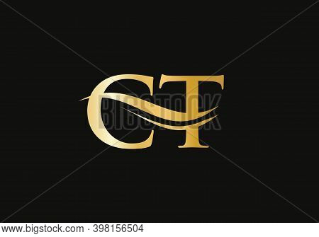 Creative And Minimalist Letter Ct Logo Design With Water Wave Concept. Ct Letter Logo Design