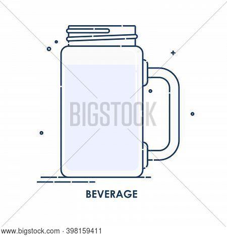 Jug, Pitcher, Jar, Ewer. Beverage Line Art In Flat Style. Restaurant Illustration For Celebration De