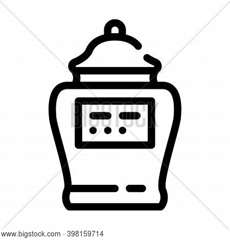 Urn With Ashes Of Deceased Line Icon Vector Illustration