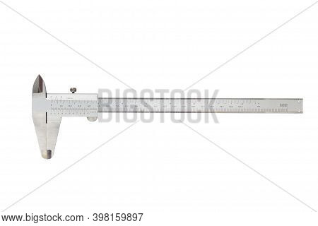 Vernier Caliper And Scale. Measuring Tool And Equipment. Isolated On White Background With Clipping
