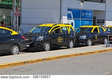 Buenos Aires, Argentina - 23 Dec 2019: Taxi In The Airport Of Buenos Aires, Argentina