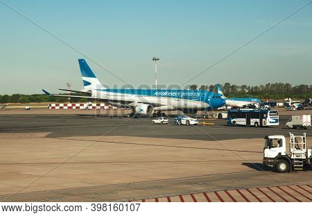 Buenos Aires, Argentina - 24 Dec 2019: The Plane In The Airport Of Buenos Aires, Argentina