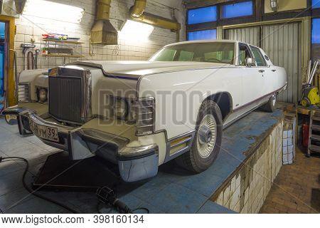 Saint Petersburg, Russia - November 24, 2020: Classic American Sedan Lincoln Continental Town Car 19