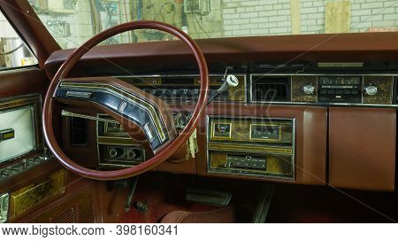 Saint Petersburg, Russia - November 24, 2020: Steering Wheel And Dashboard Of The Classic American S