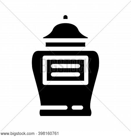 Urn With Ashes Of Deceased Glyph Icon Vector Illustration