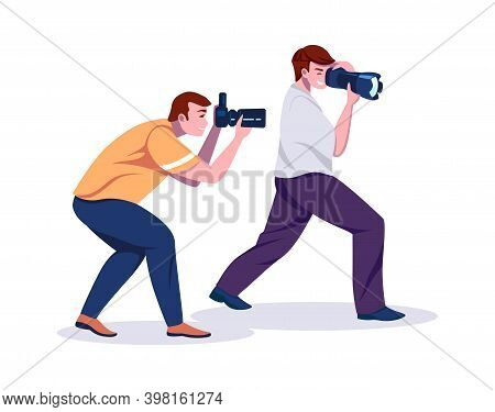 Paparazzi. Cartoon Photographers With Professional Cameras. Isolated Smile Men Take Pictures. Hobby