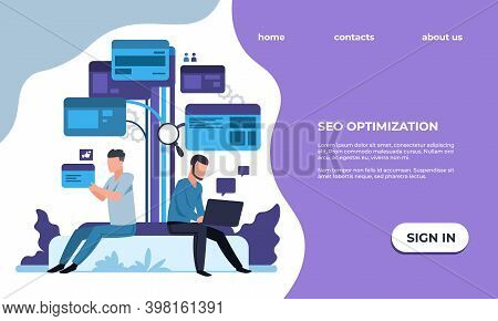Seo Optimization Landing Page. Website Promotion Management, Online Service Effective Workflow Organ