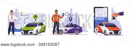 Car Sharing. Cartoon Men With Automobiles. Mobile Application And Navigation Technology For Auto Ren