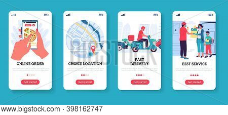 Food Delivery. Restaurant And Supermarket Order. Smartphone Screen Templates. Mobile App, Express Me