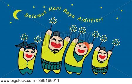 A Happy Muslim Family Playing Fireworks Together. Background With Raya's Elements. Vector. Translati