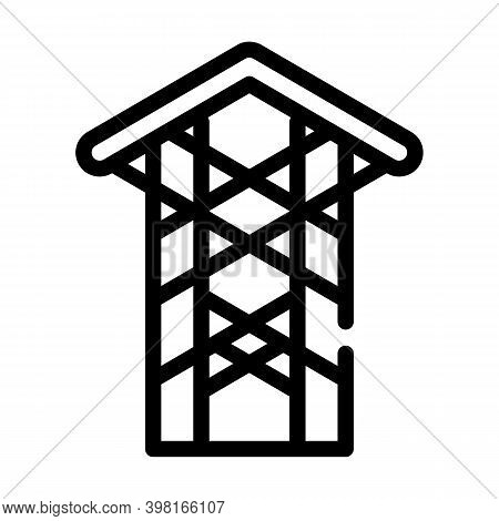 Thorn Crown Chapel Line Icon Vector Illustration