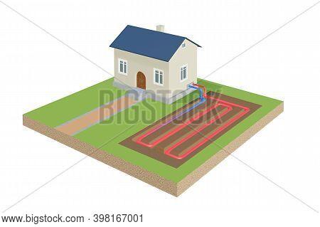 Ground Source Heat Pump Installation. House With Heat Exchanger - 3d Rendered Illustration