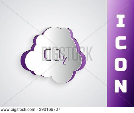 Paper Cut Co2 Emissions In Cloud Icon Isolated On Grey Background. Carbon Dioxide Formula, Smog Poll