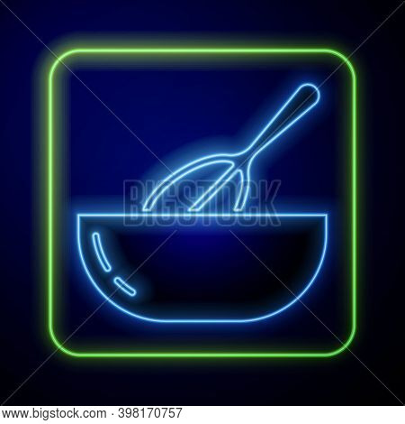 Glowing Neon Kitchen Whisk And Bowl Icon Isolated On Blue Background. Cooking Utensil, Egg Beater. C