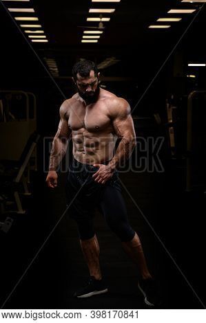 Sport Lifestyle Of Strong Young Athlete Bearded Caucasian Man With Perfect Athletic Physique Body To