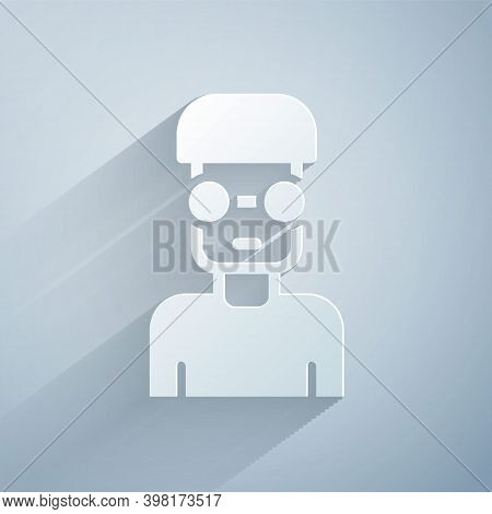 Paper Cut Nerd Geek Icon Isolated On Grey Background. Paper Art Style. Vector