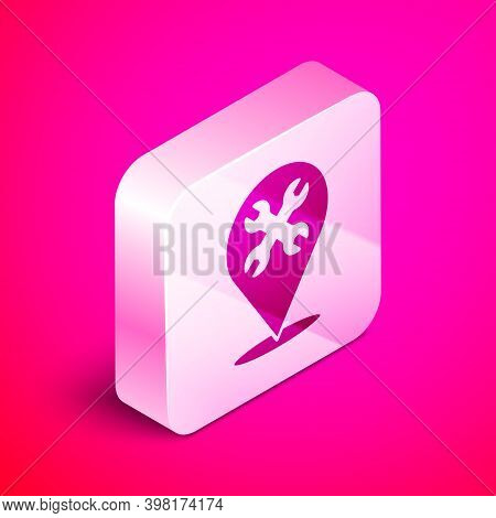 Isometric Location With Wrench Spanner Icon Isolated On Pink Background. Adjusting, Service, Setting