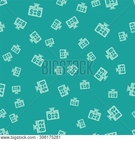 Green Cryptocurrency Exchange Icon Isolated Seamless Pattern On Green Background. Bitcoin To Dollar