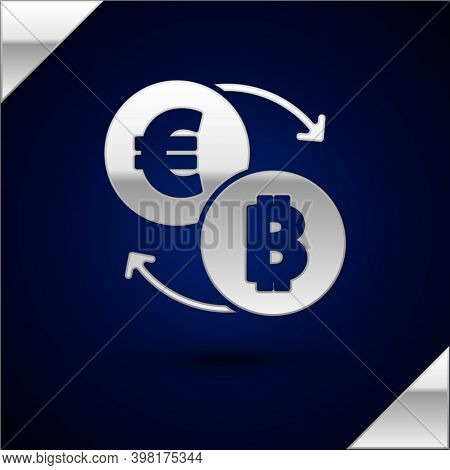 Silver Cryptocurrency Exchange Icon Isolated On Dark Blue Background. Bitcoin To Euro Exchange Icon.