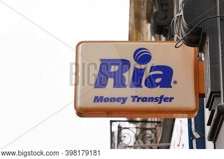 Bordeaux , Aquitaine  France - 12 01 2020 : Ria Money Transfer Sign Logo Shop Money Transfers Store